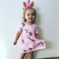 2018 New Baby Girls Unicorn Printed Dress Baby Girls Dresses...