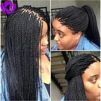 30inches longo brasileira frente do laço do cabelo peruca completa senegalês torção peruca preta / / sintéticos trançado perucas loiras marrons para as mulheres negras