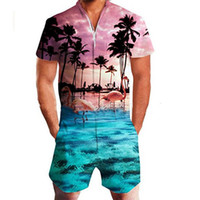 LEQEMAO Men's Casual Romper Floral Print Short Sleeve Jumpsuit Beach Overalls One Piece Slim Clothing Men's Sets