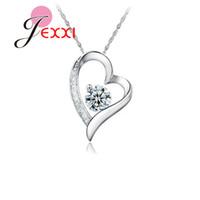 Jexxi جديد موضة حلوة القلب بسيط 925 فضة ويتيبوربل مكعب زركون قلادة قلادة للنساء هدية عيد