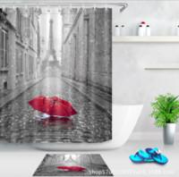 Romantico modello di ombrello 3D stampa personalizzato impermeabile bagno moderno tenda della doccia poliestere tessuto bagno tenda porta tappetino set