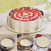 Toptan-Geri Çekilebilir Paslanmaz Çelik Daire Mus Halka Pişirme Aracı Set Kek Kalıp Kalıp Boyutu Ayarlanabilir Bakeware 16-30cm Kek Yapımı için