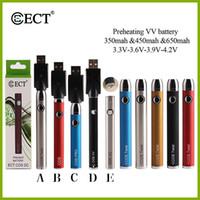 original ECT 650 mah voltaje variable precalentamiento parte inferior de la batería e cigarrillo precaliente batería 510 hilo para cartuchos de vape de aceite grueso