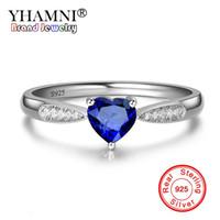 YHAMNI Solid 925 Anello in argento sterling Cuore Blu Zircone cubico Anelli di cristallo per le donne Fidanzamento Gioielli da sposa ZR446