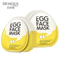 BIOAQUA 10pcs œufs faciaux masques tendres hydratantes nutriments masque facial contrôle de l'huile éclaircissent masque enveloppé boîte de soin de la peau