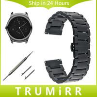 20MM 22MM الإفراج السريع حزام ل Ticwatch 1 46MM / 2 42MM / E فراشة مشبك حزام الفولاذ المقاوم للصدأ سوار المعصم حزام