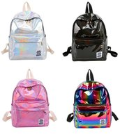 50pcs Women PU Laser Rainbow Hologram Backpacks Street Trave...