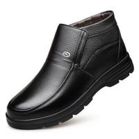 Botas de cuero genuino para hombre Zapatos de invierno Botas de nieve Zapatos de trabajo para hombre Calzado de moda Botines de goma Zapatos al aire libre para hombres