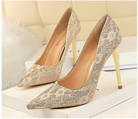 2018 NEW style Golden ladies high heels Wedding shoes Brides...