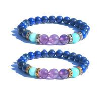 8mm Pedra Natural Pulseira Azul Marinho Lapis Lazuli Roxo Amazonita Pedra Pulseira de Prata Spacer Pulseiras de Ouro Jóias
