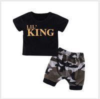 Nuevo Summer Baby Boys Letters Camiseta de manga corta impresa + Shorts de camuflaje 2pcs Set Conjuntos de ropa para niños Conjuntos de niños Traje de niño al por menor