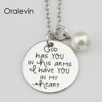 Бог имеет вас в его объятиях у вас в моем сердце вдохновляющая рука штампованные выгравированы кулон ожерелье металлические штампованные ювелирные изделия, 10 шт. / лот, #LN2364