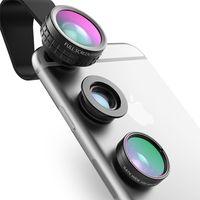 Optik-Handy-Kameraobjektiv Mini-Clip-on-Kit 180-Grad-Fischaugenobjektiv + 110-Grad-Weitwinkel + 10-fach Makroobjektiv für das Telefon