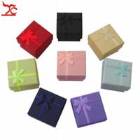 Envío Gratis 24 unids / lote Caja de Almacenamiento de Joyas de Papel Multi colores Anillo Stud Earring Caja de Regalo de Embalaje Caja de Almacenamiento de Anillo 4 * 4 * 3 cm
