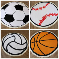 Baseball Printed beach towel Cotton tassel beach blanket Spo...