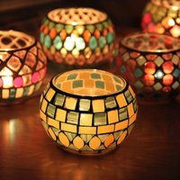 Spherical Glass Candle Holders Mosaic Crack Candlestick Home...