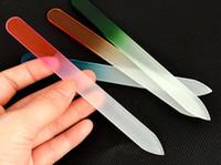 5.5 « » / 14cm Qualité Durable Verre Cristal fichier Tampon Nail Art Tampon Fichiers Multicolor Pour Manicure outil polonais UV Lime à ongles