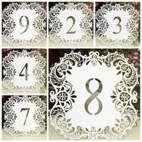 Beyaz hollow Cut Masa Numarası Kartları 1-10 Düğün Malzemeleri masa Centerpiece Süslemeleri Düğün Nişan Parti Dekoru