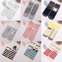 2017 Chaussettes Femme 3D Cartoon Cartoon Ears Stripes Dots Cotton Chaussettes pour Lady 4 Saisons