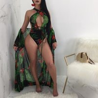2Pcs Swimwear Set Women V Neck Green Flower Bodysuit Bandage...