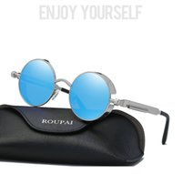 b0761d8f5a5 New Arrival. High quality Classic steampunk sunglasses retro round metal  frame Sunglass Reflective sunglasses with packing Model ...
