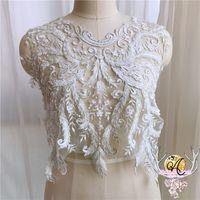 Fiore bianco Francese appliques di pizzo fatti a mano con materiali di design accessori abito da sposa perline costume ML02