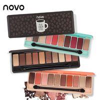 NOVO 10 Renkler göz farı paleti Mat Göz Farı paleti Glitter göz farı Makyaj Çıplak Makyaj seti Kore Kozmetik
