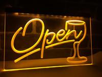 LB536- Script Open Glass Cocktails Bar LED Neon Light Sign Home Decor Crafts
