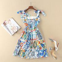 Uroczy! Blue Porcelanowe wzory płytek Drukuj Sukienka Bow Tie Spaghetti Pasek Fit and Flare Mini Summer Dresses Nowa marka wiosna 2018
