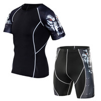 running shorts men gym crossfit T- shirt compression set shor...