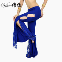 2018 New Professional Belly Dance Flank Openings Lace Trousers Pants latin dance women Pants dance costume pants