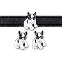 20 unids accesorios de bricolaje aleación de zinc Cool Dog Slide Charm Bead DIY 8MM Dog Cat Collar pulsera