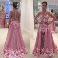Модные вечерние платья с длинными рукавами с цветочным принтом Иллюзия из прозрачного кружева на заказ Саудовская Аравия 2019 Длинные выпускные платья для выпускного вечера Конкурсное платье Robe De Soiree