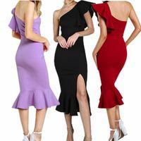 Desenhador de roupas femininas 2018 Sexy folha de lótus vestidos de verão das mulheres festa Fora Do Ombro Strapless Plissado Partido Partido clube vestido de presente de aniversário