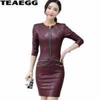 TEAEGG Artı Boyutu Kalem Elbise Rahat Şarap Kırmızı Uzun Kollu Pu Deri Elbise Kadın Giyim Ince Kış Elbiseler Kadınlar 2017 AL603
