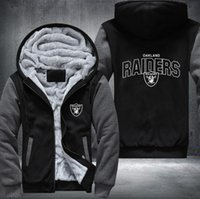 Dropshipping USA Plus EU Größe Raiders Männer Frauen Druckmuster Verdicken Fleece Zipper Hoodies Sweatshirts Mantel Jacke