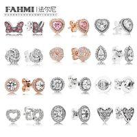 Fehmi% 100 925 Gümüş 1: 1 Charm Bow Kalp Şeklinde Rose Gold Gözyaşı Zirkon Yuvarlak Kadın Şık saplama Küpe