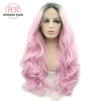 Honrin Hair Ombre Pink Wig With Dark Roots Synthetic Lace Fr...