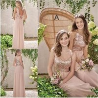 Rose Gold Country Style Bridesmaid Dresses 2018 A Line Spagh...