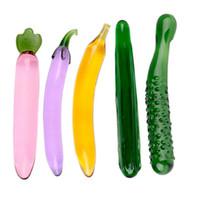 Consolador de vidrio transparente Fruit Vegetable Crystal pene juguetes sexuales para mujer juguetes anales juguetes sexuales butt plug