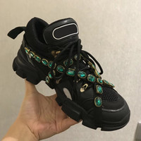 Novo Designer de Sapatilha Estilo Amantes Com Runway Flashtrek Sneaker Com Sapatos Casuais Cristais Removíveis Confortável E Top Qulity W1