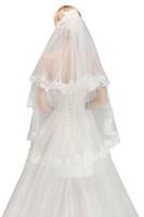 2019 новый всего $ 9.99 дешевые два слоя кружева края свадебная вуаль с расческой короткая свадебная вуаль свадебные аксессуары в наличии CPA1446