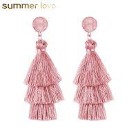 Nieuwe trendy 3 gelaagde kleurrijke kwast oorbellen handgemaakte bohemie stijl hars stenen bengelen oorbel voor vrouwen hoge kwaliteit sieraden cadeau