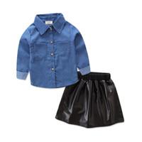 Toptan çocuk tasarımcı kıyafetleri kız moda takım elbise uzun kollu denim gömlek + 2 adet set takım kız bebek giysi tasarımcısı Deri etek ins