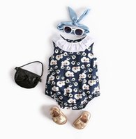 Baby Ruffle Collar Flower Vest Rompers Summer 2018 Baby Clot...