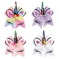 4colors 유니콘 뿔 장식 조각 헤어 로프 8 인치 아이 소녀 Bowknot 활 포니 테일 홀더 고무 밴드 헤어 넥타이 로프 크리스마스 선물