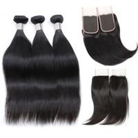 Brasilianische Gerade Reine Haarwebart 3 Bundles Mit Verschluss Unverarbeitete Brasilianische Jungfrau Seidige Gerade Menschliche Haarwebart Einschlag Großhandel