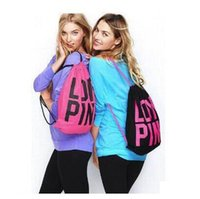 Pink Drawstring Bags Women Pink Backpack Pink Letter School ...