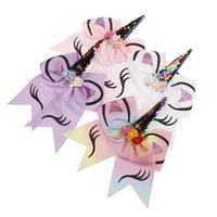Sequin Unicorn Bows Glitter Flower Hair Bow With Elastic Hai...