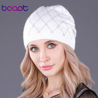 [boapt] ذات الطابقين الصوف محبوك الراين قبعة قبعات للنساء قبعة فتاة الشتاء الدافئ القبعات عارضة الإناث skullies بيني D18110102